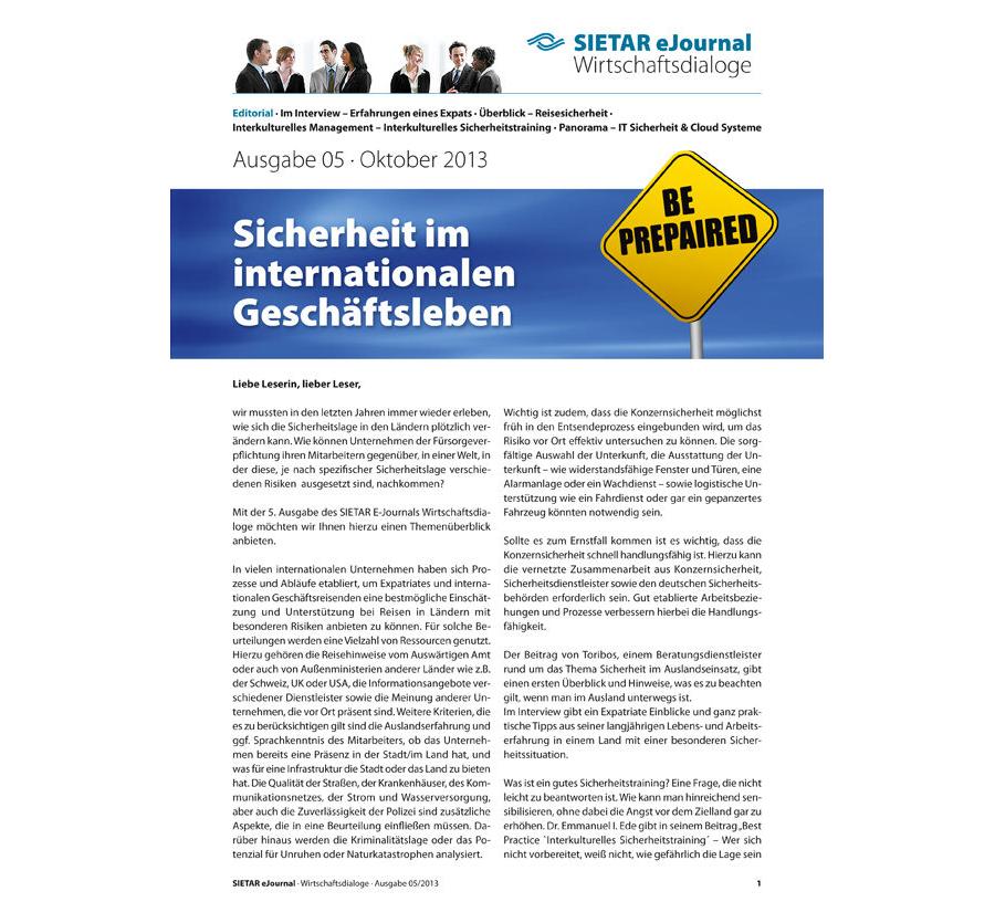 Ausgabe 05 · Oktober 2013: Sicherheit im internationalen Geschäftsleben